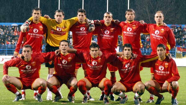 The starting team for Montenegro's first-ever game, a friendly against Hungary on March 24, 2007.
