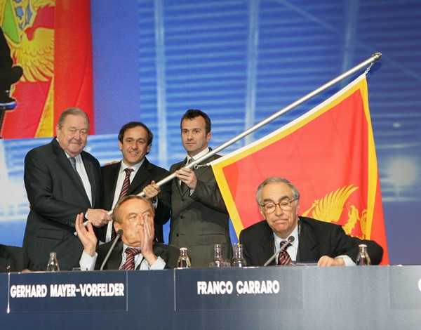 Association President Savićević at Montenegro's admission to UEFA membership.